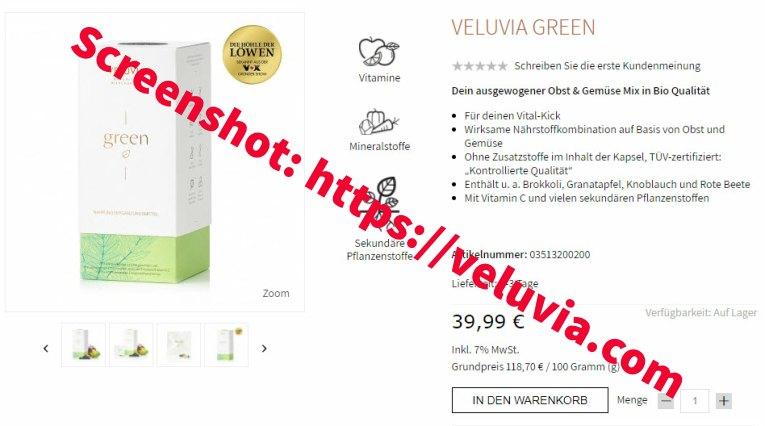 Die Höhle der Löwen - Veluvia Green Screenshot von https://veluvia.com