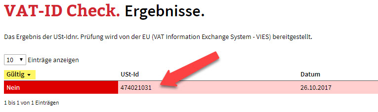 VAT-ID Check der Firma Spring Life Naturals
