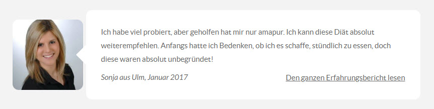 amapur Erfahrungsbericht von Sonja aus Ulm